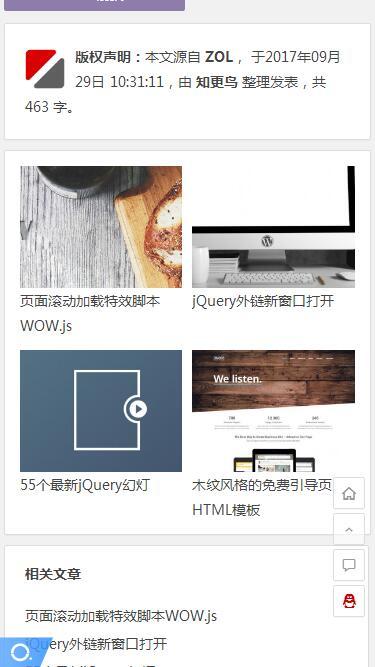 知更鸟免费 WordPress 响应式主题:Ality手机端内容页预览