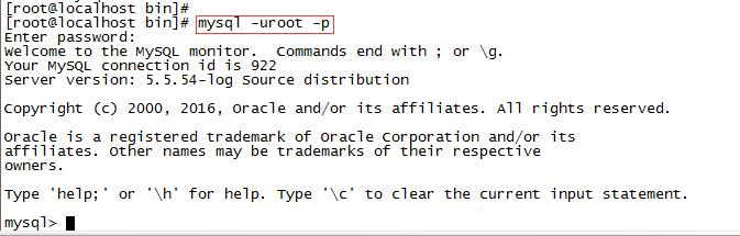 连接到本机上的MYSQL